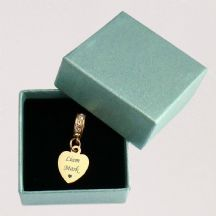 Small Memorial Heart Charm with Personalised Engraving, Rose Gold